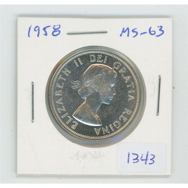 1958 Silver 50 Cents. MS-63. Nice.
