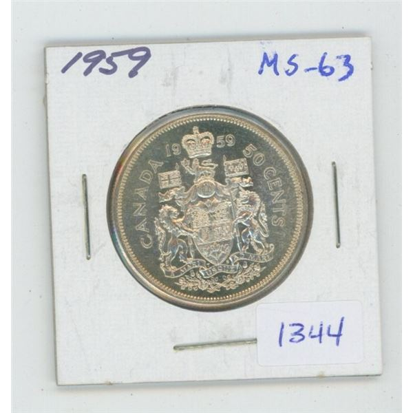 1959 Silver 50 Cents. MS-63. Nice.