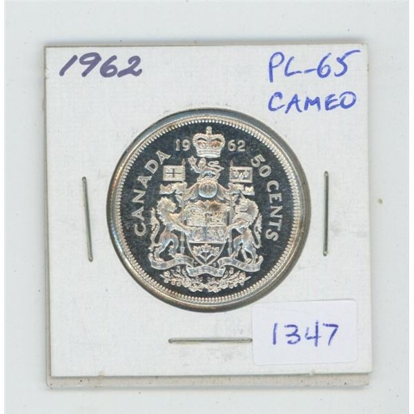 1962 Silver 50 Cents. Proof Like-65. Cameo. Beautiful.