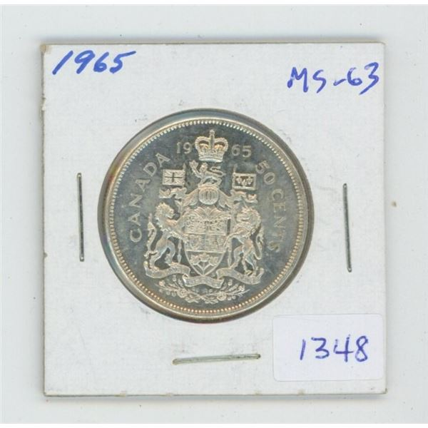 1965 Silver 50 Cents. MS-63. Nice.