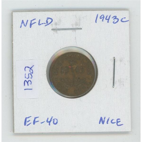 Newfoundland. 1943c Small Cent. World War II issue, minted in Ottawa. EF-40. Nice.