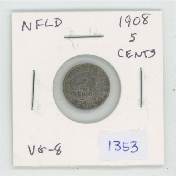 Newfoundland. 1908 Silver 5 Cents. Last silver 5 cents issued for Edward VII. VG-8.
