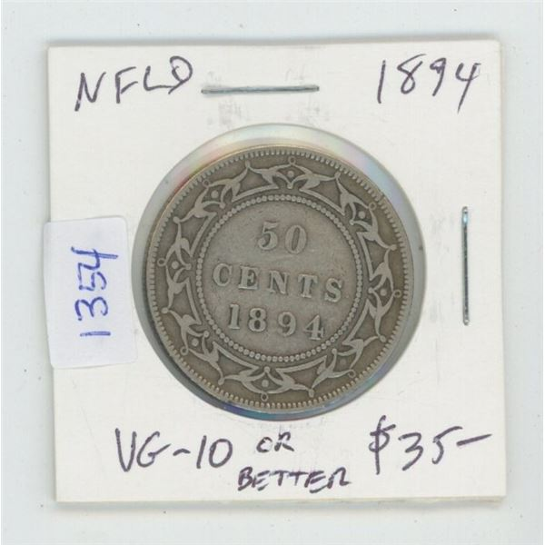 Newfoundland. 1894 Silver 50 Cents. VG-10 or better. Key Date. Mintage of 40,000.