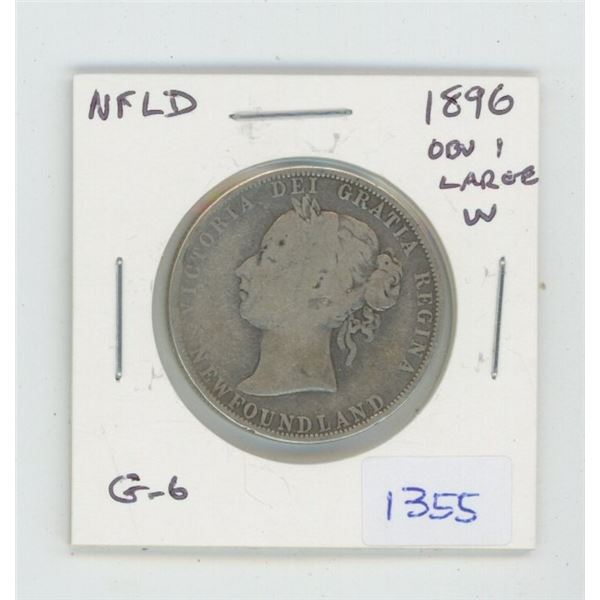 Newfoundland. 1896 Silver 50 Cents. Obverse 1 with Large W. G-6. Mintage of 60,000 for all varieties