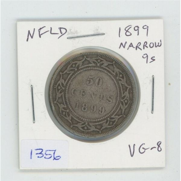 Newfoundland. 1899 Narrow 9s Silver 50 Cents. VG-8. Mintage of 150,000 for all varieties.