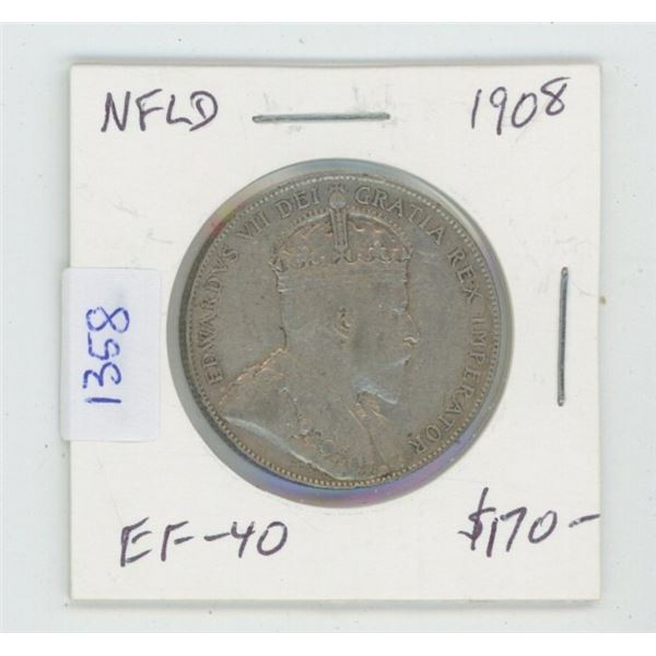 Newfoundland. 1908 Silver 50 Cents. EF-40. High Grade for this. Nice.
