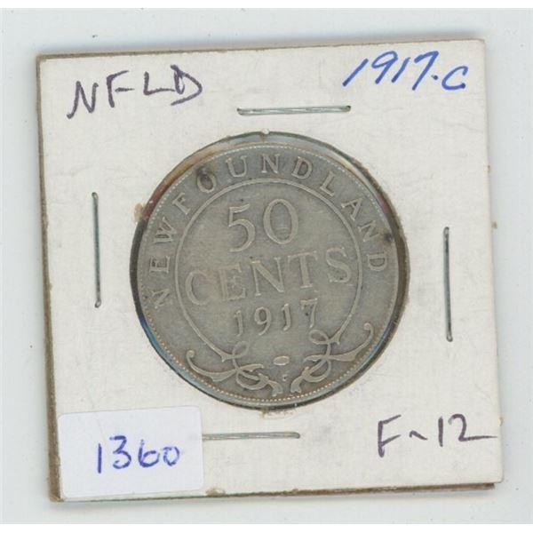 Newfoundland. 1917C Silver 50 Cents. World War I issue. Minted in Ottawa. F-12.