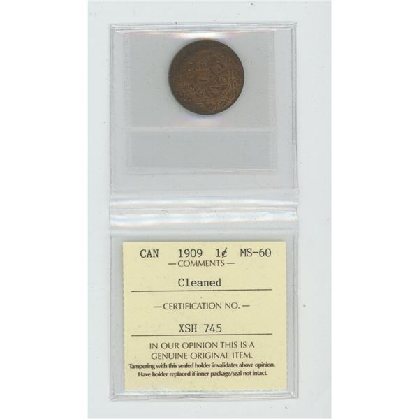 1909 Large Cent. ICCS certified and graded MS-60. Cleaned. Uncirculated.