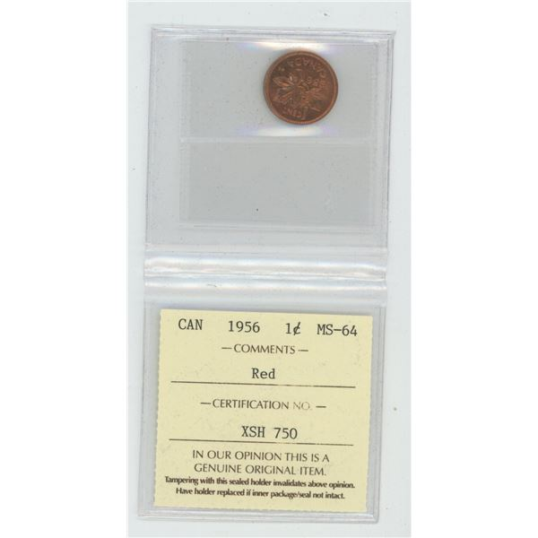 1956 Small Cent. ICCS certified and graded MS-64 Red. A beautiful coin.