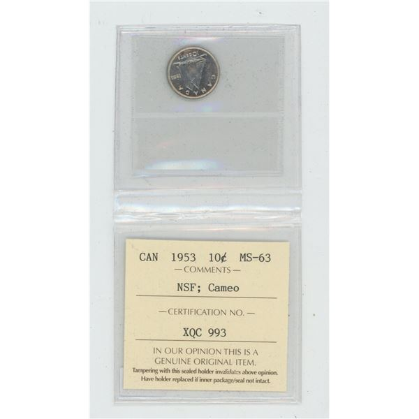 1953 No Shoulder Fold Silver 10 Cents. ICCS certified and graded MS-63 Cameo. A beautiful coin.