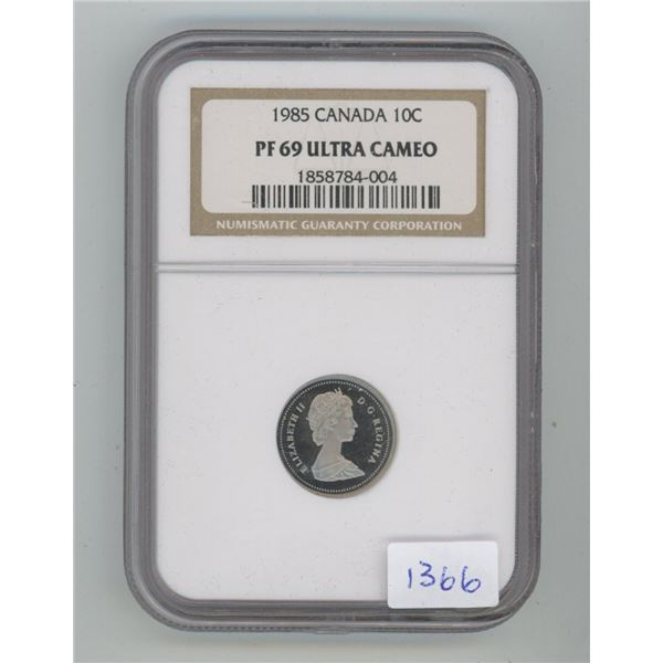 1985 10 Cents. NGC certified and graded Proof-69 Ultra Cameo. A beautiful coin.