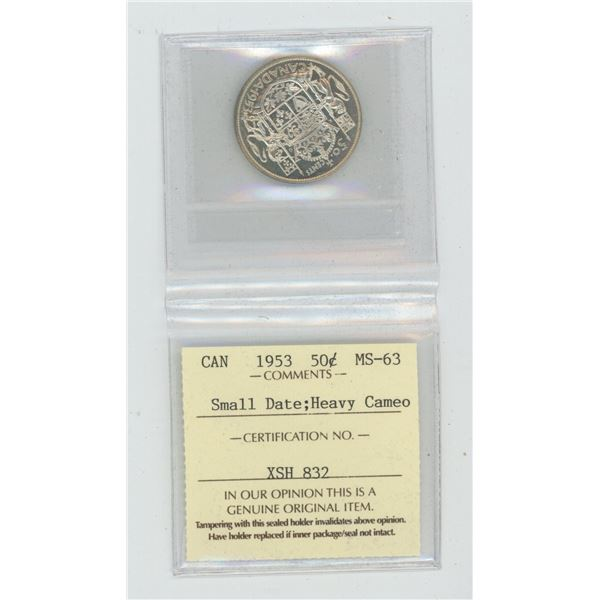1953 Small Date Silver 50 Cents. ICCS certified and graded MS-63 Heavy Cameo. A beautiful coin.