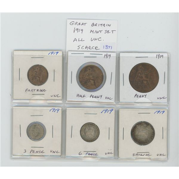 Great Britain. 1919 Mint Set. Includes farthing, half penny, penny, silver 3 pence, silver 6 pence a