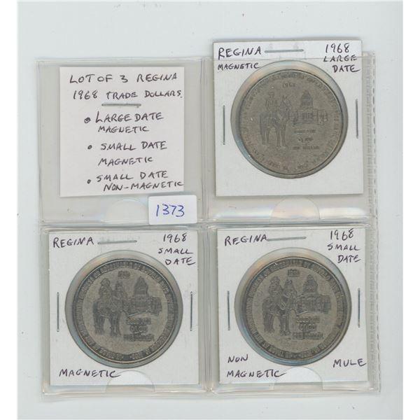 Lot of 3 Regina 1968 Trade Dollars. Includes Large Date, Magnetic; Small Date, Magnetic, Small Date,