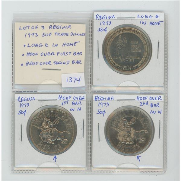 Lot of 3 Regina 1973 Trade Dollar Varieties. (Actually, they're only worth 50 Cents).  Includes Long