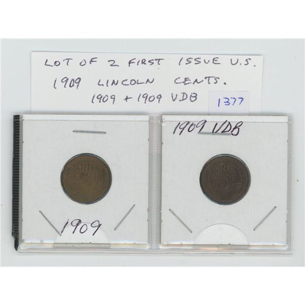Lot of 2 First Issue U.S. 1909 Lincoln Cents. Issued to celebrate the 100th Anniversary of the birth