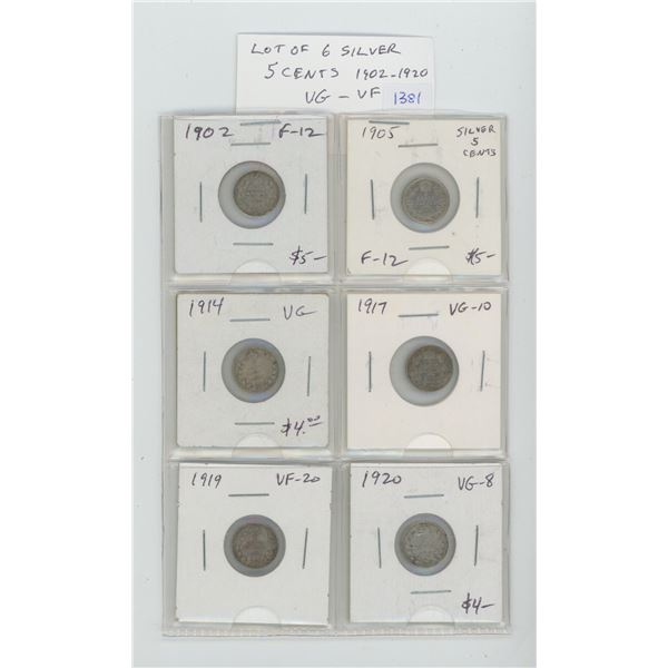 Lot of 6 Canadian Silver 5 Cents. Includes 1902, 1905, 1914, 1917, 1919 & 1920. Coins grade VG-8 to