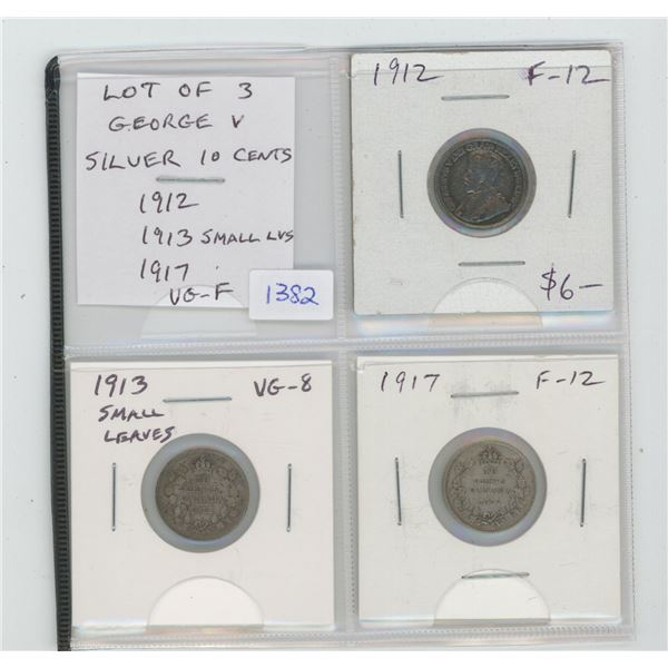 Lot of 3 George V Silver 10 Cents. Includes 1912, 1913 Small Leaves, 1917. Coins grade VG-8 to F-12.