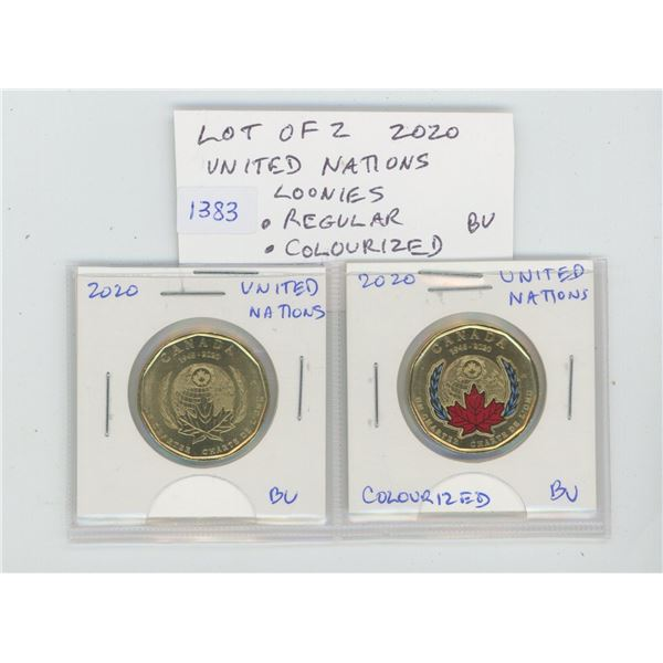 Lot of 2 2020 United Nations Loonies. Includes Regular & Colourized. Both BU, from an original Mint