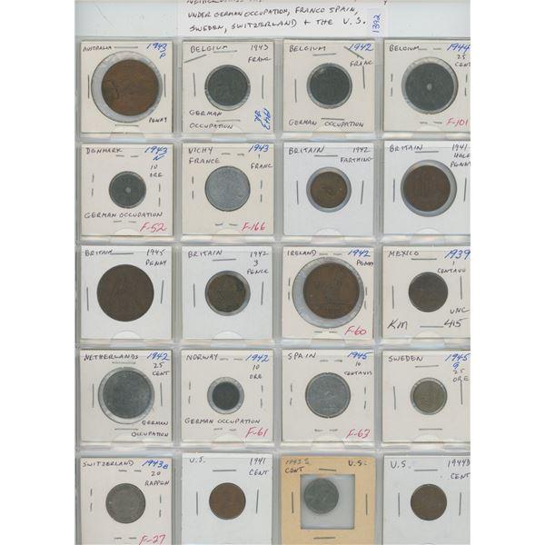 Lot of 20 World War II Coins 1939 – 1945 from Australia, Belgium under German Occupation, Denmark un