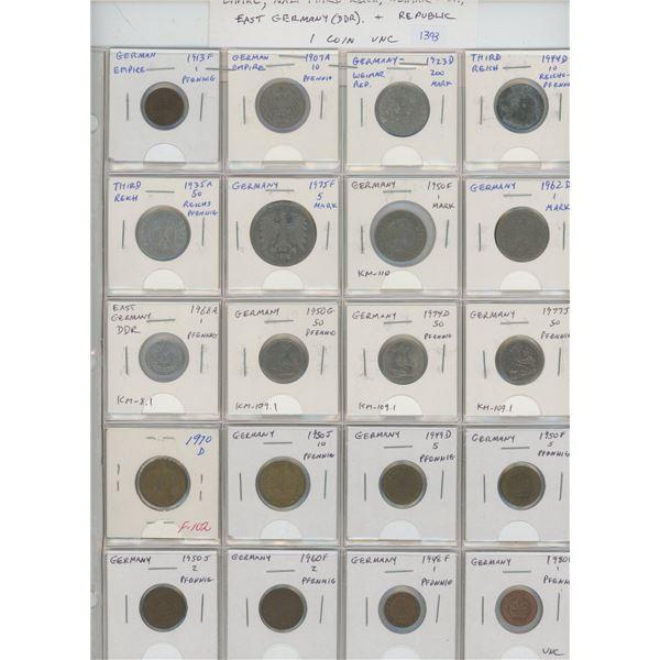 Lot of 20 German coins includes Empire 1913F 1 pfennig & 1907A 10 pfennig, Weimar Republic 1923D 200