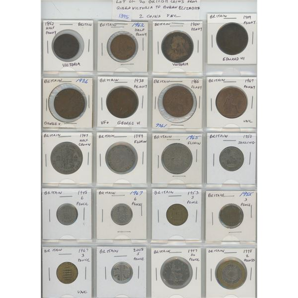 Lot of 20 British coins including Queen Victoria, King Edward VII, King George V, King George VI & Q