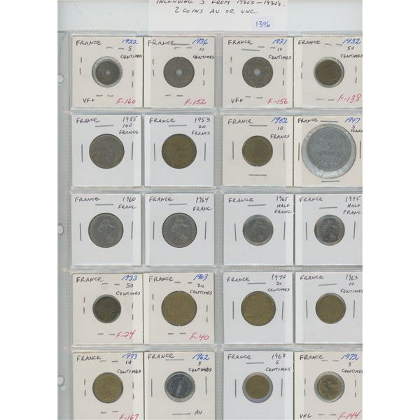 Lot of 20 coins from France. Includes 5 coins from the 1920s and 1930s. 2 coins AU or Unc.
