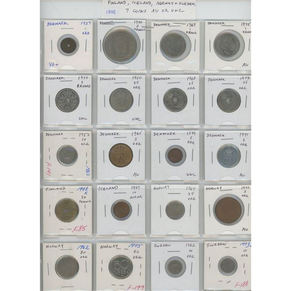 Lot of 20 Scandinavian coins from Denmark (including VF+ 1927 1 ore), Finland, Iceland, Norway, and