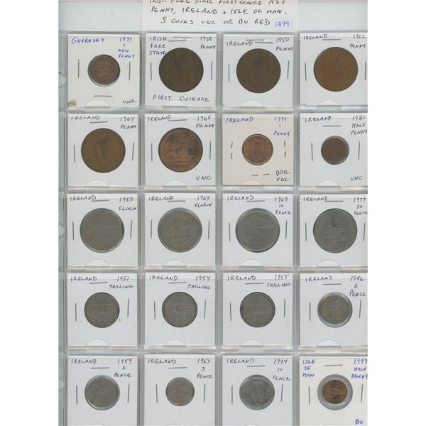 Lot of 20 coins from Guernsey, Irish Free State (includes First Coinage 1928 penny), Ireland, & Isle