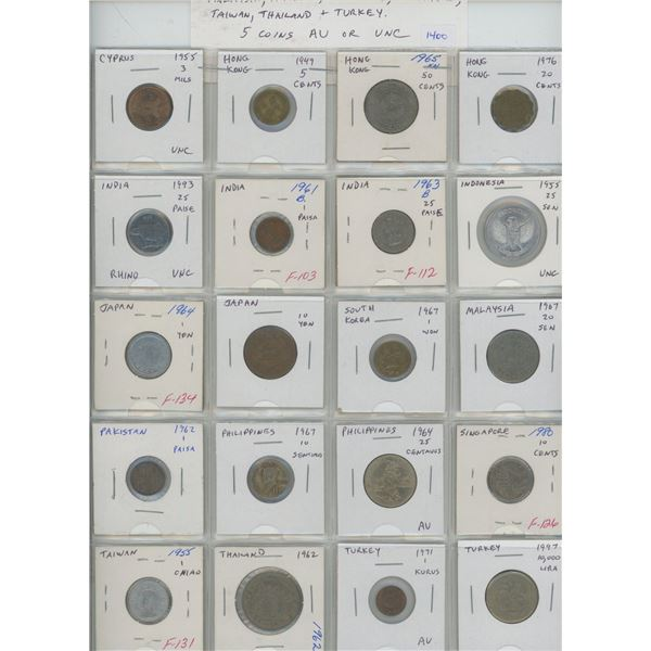 Lot of 20 Asian coins from Cyprus, Hong Kong, India, Indonesia, Japan, South Korea, Malaysia, Pakist