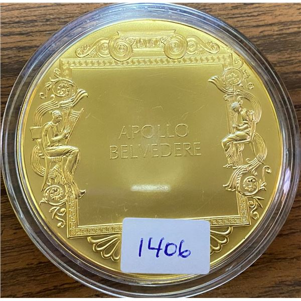 Apollo Belvedere. From the Ancient Greece medals series. A beautiful gold-plated bronze medal measur