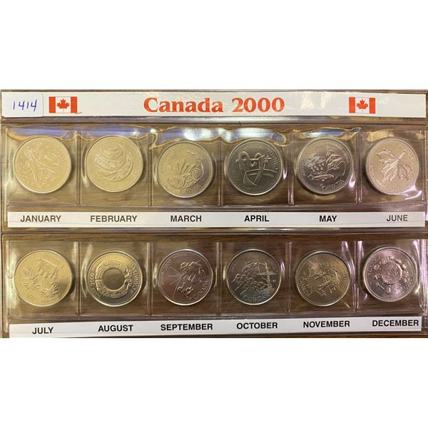 2000 Millennium 25 cents set. Includes all 12 coins. In custom folder.