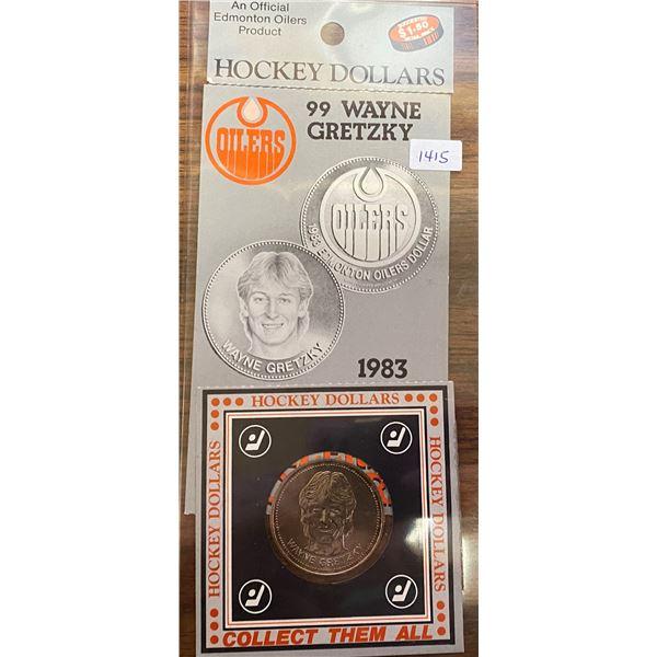 1983 Edmonton Oilers Wayne Gretzky Hockey Dollar & Hockey Card.