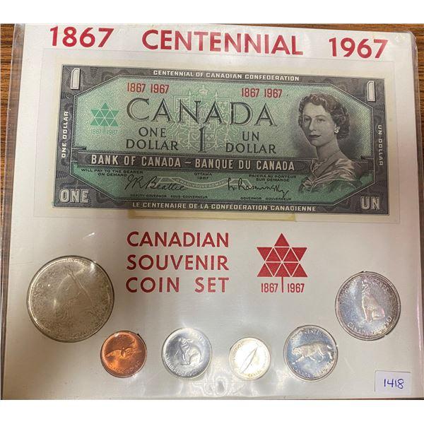 1967 Canadian Centennial Souvenir Coin & Paper Money Set. Includes 1 cent, 5 cents, 10 cents, 25 cen