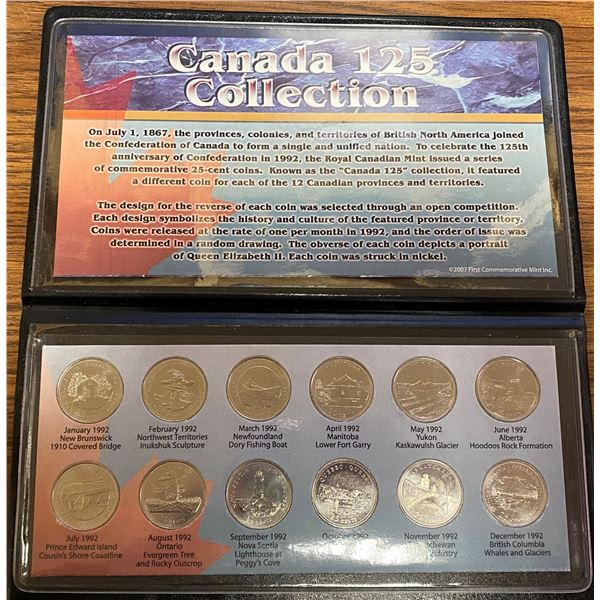 Canada 125 Collection. Complete collection of 12 1992 provincial & territorial 25 cents that mark th