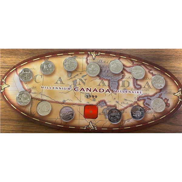 1999 Canada 25 cents. Complete set of 12 1999 Millennium Canada 25 cents plus Millennium Medal inser