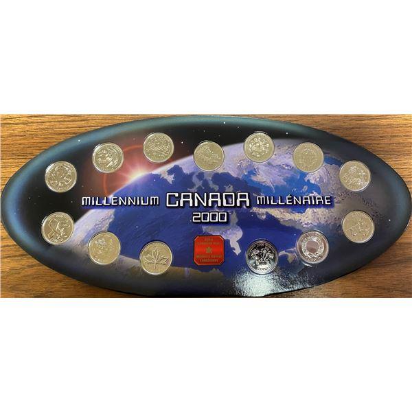 2000 Canada 25 cents. Complete set of 12 2000 Millennium Canada 25 cents plus Commemorative Medallio