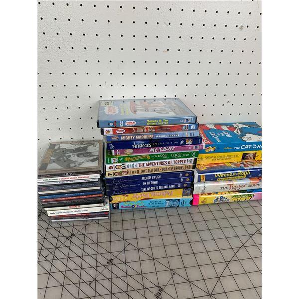 LOT OF CDS DVDS VHS