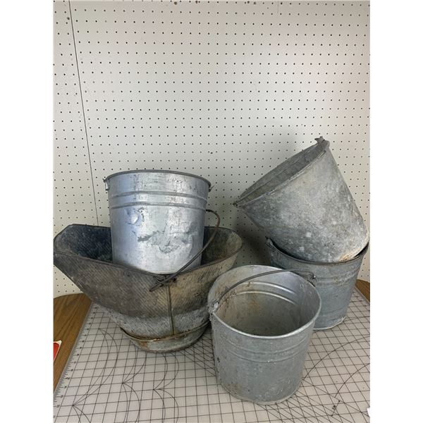 OLD COAL PAIL AND GALVANIZED PAILS
