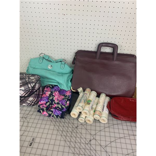 LOT OF PURSES BAGS AND WALL PAPER BOARDER