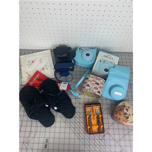 LOT OF MISC CAMERAS SLIPPERS ETC
