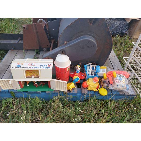 lot of Fisher Price toys -Family Farm, telephone, etc