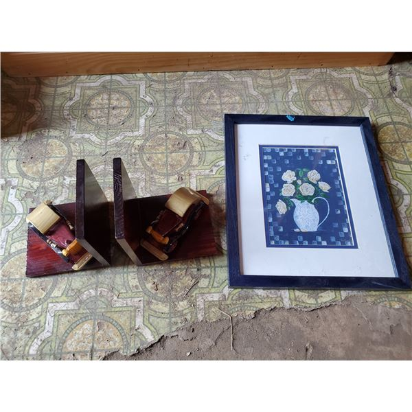 2 wooden car book ends & picture