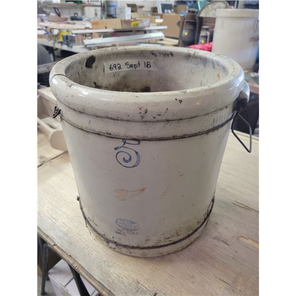 5 gallon Redwing crock, cracked & repaired. Would make cute planter