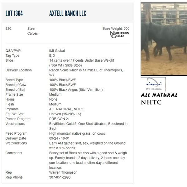 Axtell Ranch LLC - 320 Steers Base Weight: 500