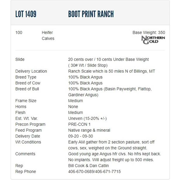 Boot Print Ranch - 100 Heifers Base Weight: 350