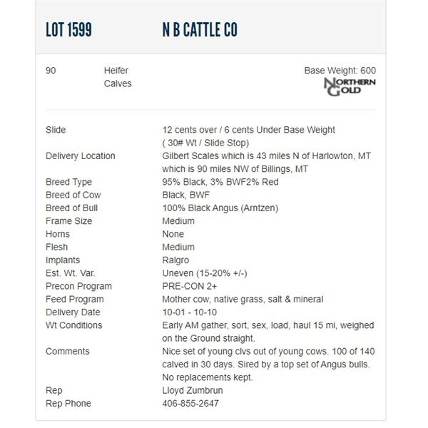 N B Cattle Co - 90 Heifers Base Weight: 600