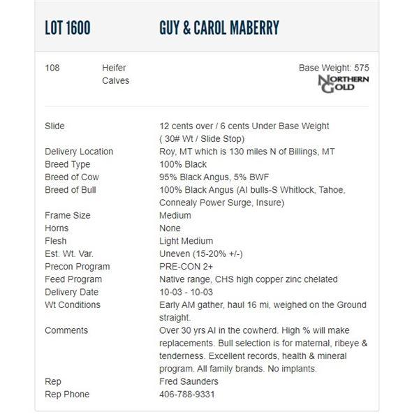 Guy & Carol Maberry - 108 Heifers Base Weight: 575