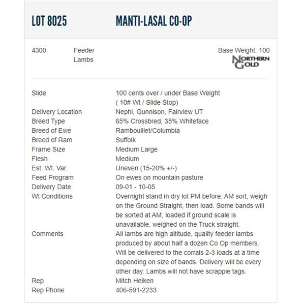 Manti-LaSal Co-op - 4300 Feeders Lambs Base Weight: 100