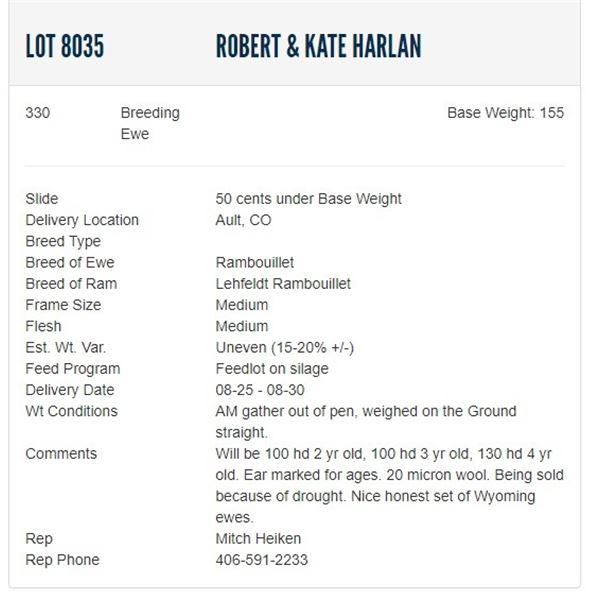Robert & Kate Harlan - 330 Breeding Ewes Base Weight: 160